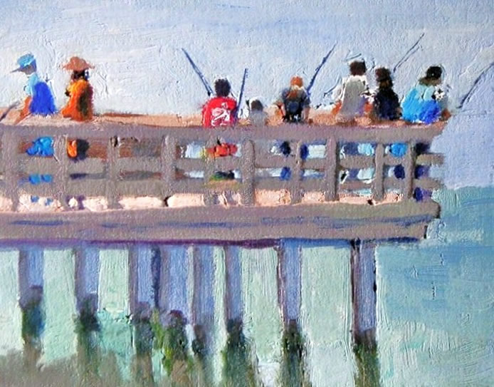 Catalog of recent paintings for Half moon bay pier fishing